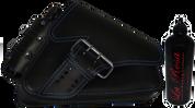 04-UP Harley-Davidson Sportster Right Side Saddle Bag LA FONDINA - Black (Blue Thread) with Spare Fuel Bottle