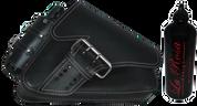 04-UP Harley-Davidson Sportster Right Side Saddle Bag LA FONDINA - Black (White Thread) with Spare Fuel Bottle
