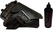 04-UP Harley-Davidson Sportster Right Side Saddle Bag LA FONDINA - Rustic Black with Spare Fuel Bottle Holder