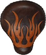 "17"" Classic Solo Seat - Rustic Brown with Tan Flame Inlay"