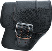 04-UP Harley-Davidson Dyna Wide Glide FXR Right Side Solo Saddle Bag Black Alligator with Wide Strap