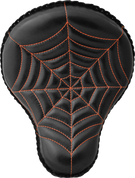 "La Rosa Harley Chopper Bobber Custom 16"" Cross Bones Solo Seat Black Spider Web Tuck - Orange Thread"