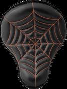 "La Rosa Harley Chopper Bobber Custom 16"" Cross Bones Solo Seat Black Spider Web Tuck - Orange Thread"