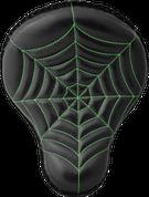 "La Rosa Harley Chopper Bobber Custom 16"" Cross Bones Solo Seat Black Spider Web Tuck - Green Thread"