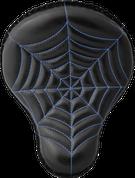 "La Rosa Harley Chopper Bobber Custom 16"" Cross Bones Solo Seat Black Spider Web Tuck - Blue Thread"