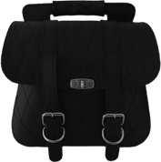 Universal Black Leather Luggage - Diamond Tuck