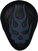 "La Rosa Harley-Davidson Sportster/Softail/Dyna/Touring Bikes  Chopper Bobber 13"" baSICK Solo Seat Black - Flaming Skull Inlay Blue"