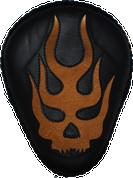 "La Rosa Harley-Davidson Chopper Bobber 13"" Bad Ass Black Leather Solo Seat Flame Skull Inlay - Tan"