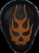 "La Rosa Harley-Davidson Sportster/Softail/Dyna/Touring Bikes  Chopper Bobber 13"" baSICK Leather Solo Seat Black Flame Skull Inlay - Tan"