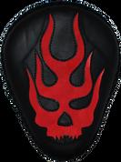 "La Rosa Harley-Davidson Sportster/Softail/Dyna/Touring Bikes  Chopper Bobber Custom 13"" Classic Solo Seat - Black Flame Skull Inlay Red"