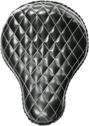 "La Rosa Harley-Davidson Sportster/Softail/Dyna/Touring Bikes  Chopper Bobber Custom 16"" Classic Solo Seat Black Diamond Tuk - Green Thread"