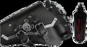 04-UP Harley-Davidson Sportster Left Side Vintage Saddle Bag Black - Cross Bones Billet Trim with Fuel Bottle Holder