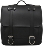All HD Softails claSICK Leather Postal Bag - Plain Black Leather