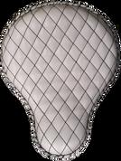 "La Rosa Harley Chopper Bobber Custom 16"" Classic Solo Seat White Leather Diamond Tuk"