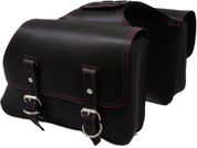 Universal Throw Over Saddle Bag Set Black with Pink Thread