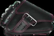 04-UP Harley-Davidson Sportster Right Side Saddle Bag LA FONDINA - Black (Pink Thread) with Spare Fuel Bottle