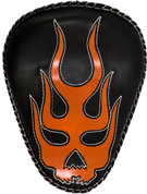 "Harley Chopper Bobber 13"" Bad Ass Black Leather Solo Seat Flame Skull Inlay - Orange w/ White Thread"