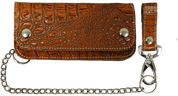 Heavy Brown Alligator Leather Hand-Made Biker Wallet with Chain