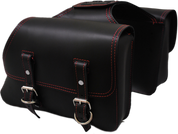 Universal Throw Over Saddle Bag Set Black with Red Thread