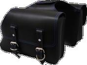 Universal Throw Over Saddle Bag Set Black with Blue Thread