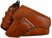 04-UP Harley-Davidson Sportster Right Side Saddle Bag LA FONDINA - Brown Alligator w/ Spare Fuel Bottle Holder
