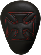 """Chopper Bobber 13"""" Eliminator Solo Seat Black Cross with Red Stitches"""