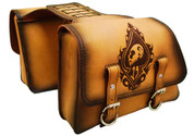 Universal Throw Over Saddle Bag Set Antique Tan Leather Lucky Spade Skull