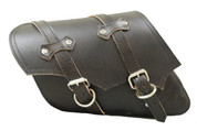 All H-D XL Left Side Classic Rustic Black Leather Bolt-On Saddle Bag