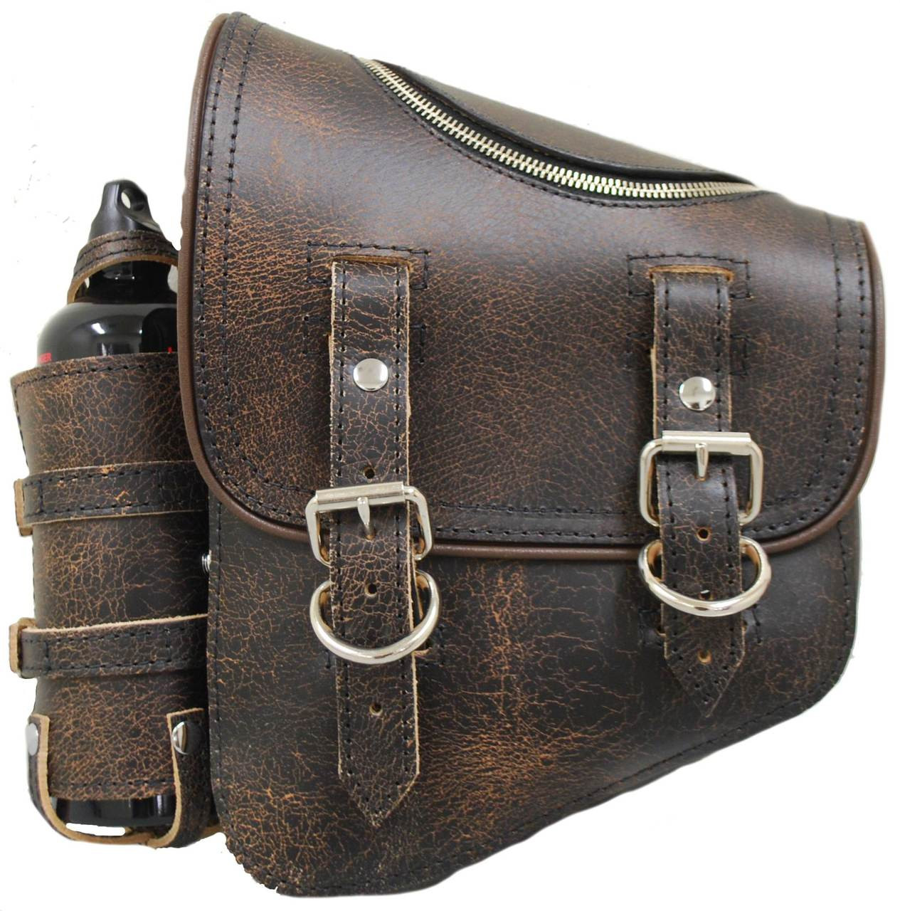 a691fa7c6cc2 ... Harley-Davidson All Softail Models Left Side Solo Saddle Bag Swingarm  Bag Rustic Brown Leather with Zipper and Fuel Bottle Holder. Price    262.99. Image ...