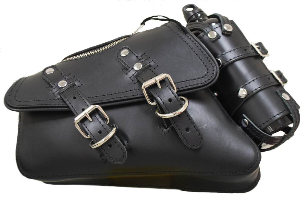 Harley Davidson Saddle Bags Motorcycle Cowhide Leather Tool Pouch Roll Side Bag