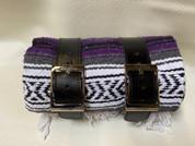 Mexican Serape Roll-up Blanket with Black Leather Belts- Purple Serape