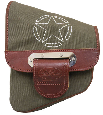 46e7624d398d ... La Rosa Harley-Davidson All HD Softail Canvas Softail Left Side Saddle  Bag Swingarm Bag Army Green with White Stitching Star. Image 1