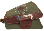 04-UP Harley Davidson Sportster Nightster 1200 Forty-Eight 72 XL Canvas Left Side Saddle Bag Swingarm Bag -  Army Green with Brown Leather  Star