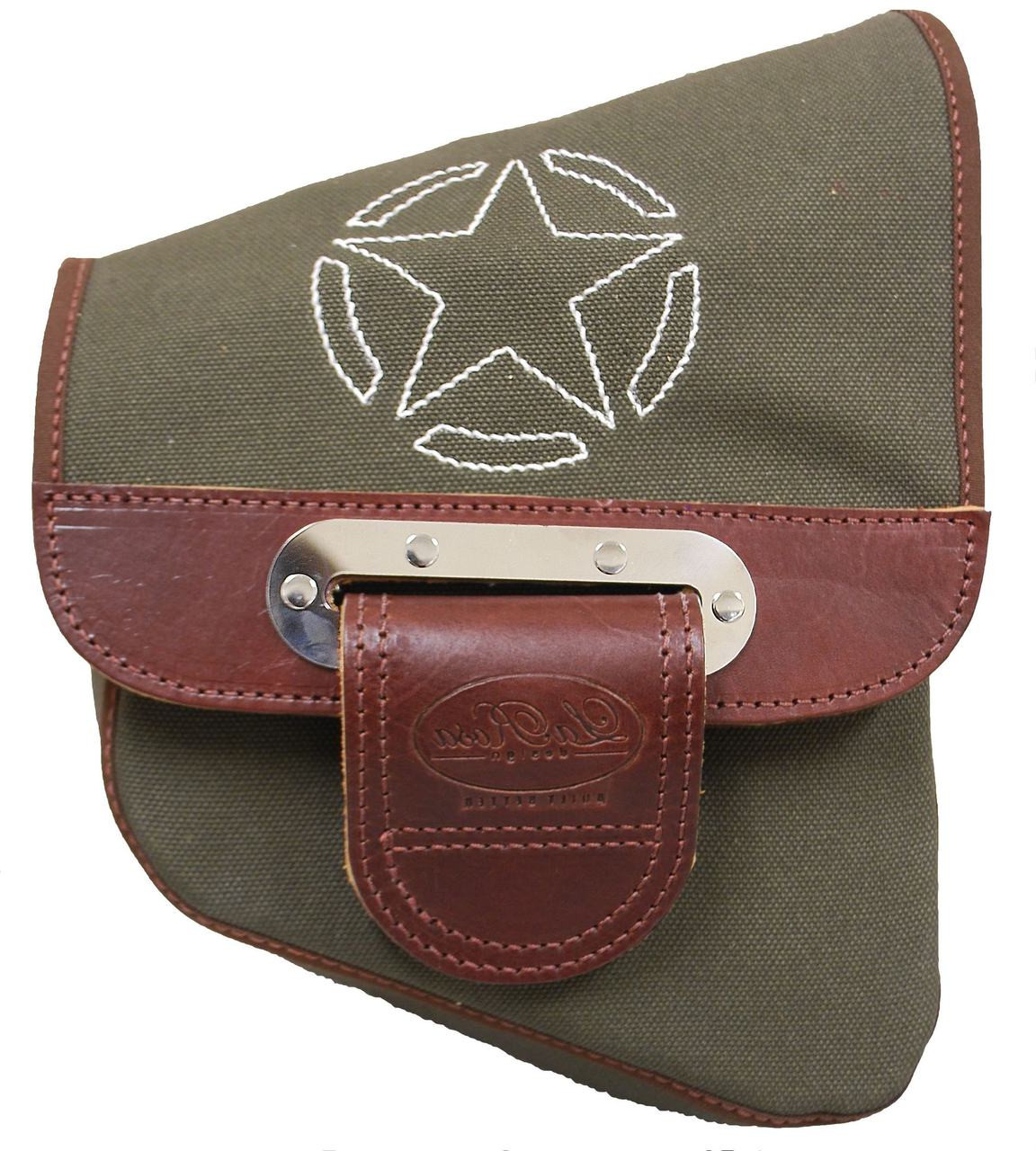 6e564457f314 La Rosa Harley-Davidson All HD Softail Canvas Softail Right Side Saddle Bag  Swingarm Bag Army Green with White Stitching Star. Price   114.99. Image 1