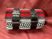 Mexican Serape Roll-up Blanket with Black Leather Belts- Red Serape