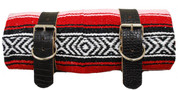 Mexican Serape Roll-up Blanket with Black Alligator Leather Belts- Red Serape