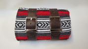 Mexican Serape Roll-up Blanket with Rustic Brown Leather Belts- Red Serape
