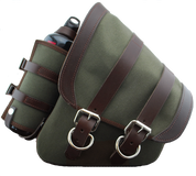 La Rosa Harley-Davidson  All HD Softail Canvas Softail Left Side Saddle Bag   Swingarm Bag with Fuel Bottle Holder - Army Green
