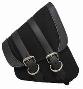 La Rosa Harley-Davidson  All HD Softail Canvas Softail Right Side Saddle Bag   Swingarm Bag Black with Black Leather