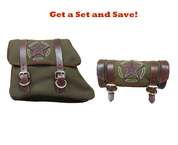 82-03 Harley-Davidson XL Sportster Left Side Solo Saddle Bag and Tool Bag - Army Green Canvas w/ Brown Leather Star