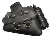 SALE! 2004-UP Harley Sportster Classic Style Throw Over Saddle Bag Set Black Leather with Twin Fuel Bottle Holders