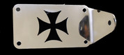 Universal Polished Stainless Steel Side Mount License Plate Frame - Iron Cross