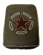 La Rosa Harley-Davidson  /Sportster/Softail/Dyna/Touring Bikes Universal Rear Passenger Pillion Pad - Army Green Canvas with Leather Star