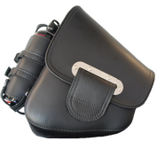 "La Rosa Harley-Davidson All Softail Models ""Slim Line"" Quick Release Left Side Saddle Bag   Swingarm Bag for All HD Softail and Rigid Fames- Black with Fuel Bottle Holder"