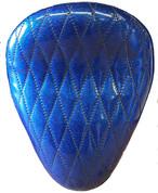 "La Rosa Harley-Davidson /Sportster/Softail/Dyna/Touring Bikes  Chopper Bobber 13"" Solo Seat Blue Metal Flake Diamond Tuk"