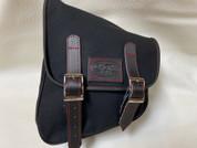 La Rosa Harley-Davidson All HD Softail Eliminator Canvas Softail Left Side Saddle Bag   Swingarm Bag Black with Red Stitching