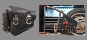 La Rosa Harley-Davidson All Softail Models Left Side Bolt-on Solo Saddle Bag   Swingarm Bag Black Alligator w/Fuel Bottle holder and Inside Tool Pouches
