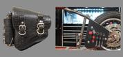La Rosa Harley-Davidson All Softail Models Left Side Bolt-on Solo Saddle Bag   Swingarm Bag Black Alligator Plain with Fuel Bottle Holder and Handy Biker Tools