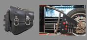 La Rosa Harley-Davidson All Softail Models Left Side Bolt-on Solo Saddle Bag   Swingarm Bag Black Zipper with Fuel Bottle Holder and Inside Tool Pouches