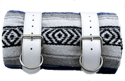 Mexican Serape Roll-up Blanket with White Leather Belts- Blue and Gray Serape